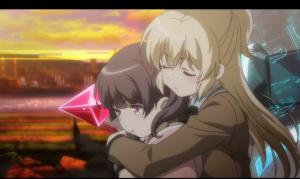 「レガリア The Three Sacred Stars」第01話より 戦闘の始まりから終わりまで実質ユイがした事ってレナを抱きしめた事くらいだけど、それだけで超強くなるのです!