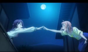 「ラブライブ!サンシャイン!!」第02話より このシーン、メチャクチャテンション上がりました! ぎゅっと手を握り合わせられない辺りが、逆に良い!