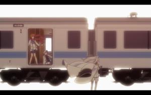 「クオリディア・コード|QUALIDEA CODE」第06話より 銀呼、柘榴を先に脱出用の電車に乗せるも、敵の追撃を防ぐため一人残る舞姫