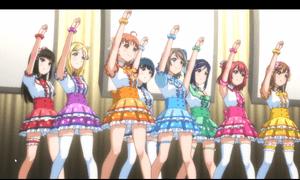 「ラブライブ!サンシャイン!!」第11話より 梨子ちゃんより贈られたシュシュを身に着けてライブの臨んだaquars 技量はともかくメンバーの繋がりは盤石です
