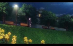 「NEW GAME!」第03話より ねねっちとの電話に興じる青葉ちゃん 微笑ましいシーンだと思いつつも、こんな時間に一人で危なくないのかな~とも