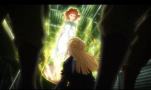 「終末のイゼッタ」第1話より 思えば鉄道でイゼッタを捕らえていた棺にフィーネが手を掛けたのがイゼッタが目覚めた原因の一つでしょうから、色んな意味で運命的な二人です