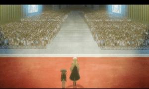 「レガリア The Three Sacred Stars」第05話より アーベルさんを撃破したユイ&レナを大歓声で迎えるアナストリア国民 正に凱旋といった風情です