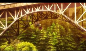 「終末のイゼッタ」第1話より 列車での逃走劇で屋根の上を走ったり、鉄橋から飛び降りたりはお約束ですね(笑)