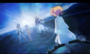 「レガリア The Three Sacred Stars」第10話より サラ達との再会で気力を取り戻しつつも具体的にどうするかは決まっていなかったユイ達を迎えに来たレナ(?) うん、これは百合は世界を救うって事で良いのかな(笑)
